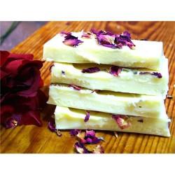 Turrón chocolate blanco aceite y rosas